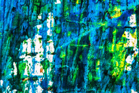 tempera: Abstract hand painted blue and green acrylic art background Stock Photo