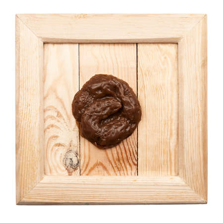 excrement: Old wooden frame with fake rubber excrement isolated on white