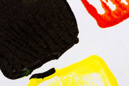 hand painted: Abstract hand painted red black and yellow acrylic art background Stock Photo