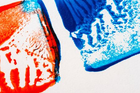 tempera: Closeup view of abstract hand painted blue and red acrylic art background on paper texture Stock Photo