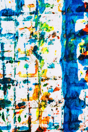 hand painted: Abstract hand painted blue yellow and red acrylic art background