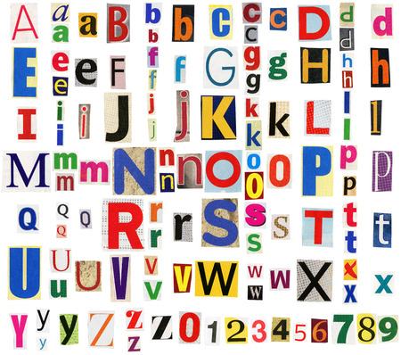 typesetter: Big size collection of colorful newspapers, magazines letters isolated on a white background. Anonymous alphabet
