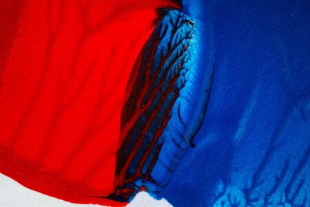 layer mask: Closeup view of abstract hand painted blue and red acrylic art background on paper texture Stock Photo
