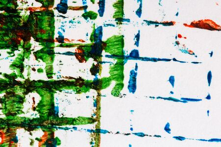 fragment: Closeup view of abstract hand painted mainly green acrylic art background on paper texture. Fragment of artwork