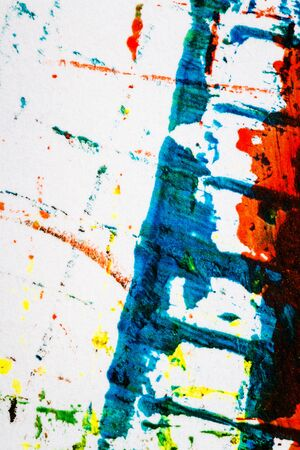 Abstract hand painted blue and red acrylic art background Stock Photo