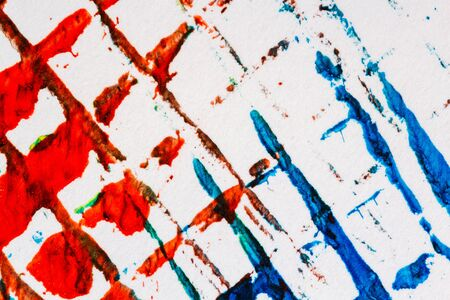 layer mask: Abstract hand painted lined blue and red acrylic art background on paper texture