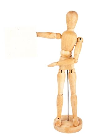 Wooden dummy holding handmade paper isolated on a white background Stock Photo