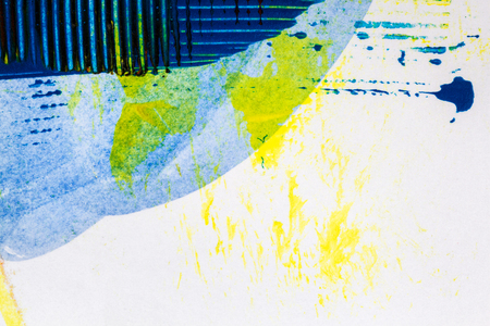 Abstract hand painted yellow and blue acrylic art background Stock Photo