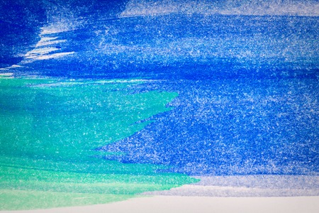 Abstract hand drawn blue and green watercolor paints background Stock Photo