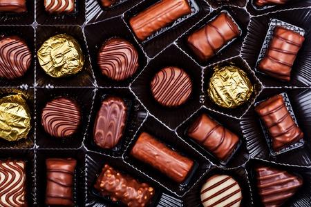 confiserie: Close up shot of chocolates box