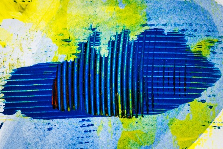 tempera: Abstract hand painted yellow and blue acrylic art background Stock Photo