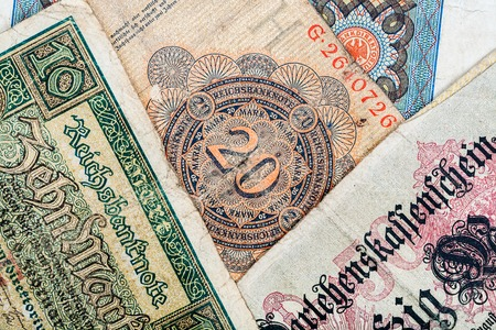money notes: Old german money notes background