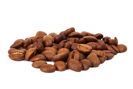 the daily grind: Pile of roasted coffee beans isolated in white background, Stock Photo