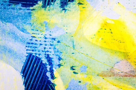 multilayer: Closeup shot of abstract hand painted colorful acrylic art background on paper texture. Fragment of artwork