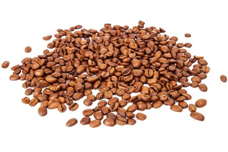 the daily grind: Pile of roasted coffee beans isolated in white background, selective focus in the front