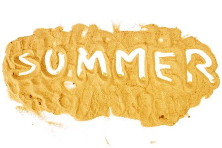 grained: Word SUMMER written on pile of yellow sand isolated on white background, selective focus at center