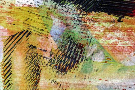macro: Closeup shot of abstract hand painted colorful acrylic art background on paper texture. Fragment of artwork