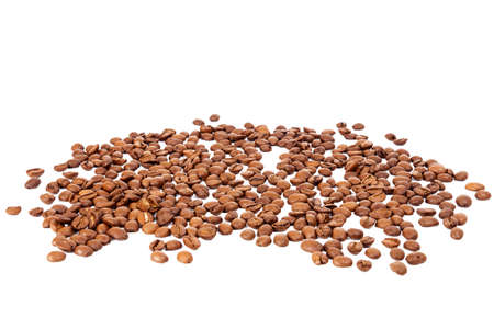 the daily grind: Pile of roasted coffee beans isolated in white background
