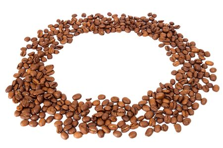 the daily grind: Circle of roasted coffee beans isolated in white background