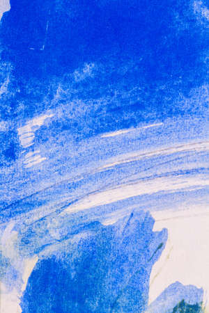 Macro shot of abstract hand drawn blue watercolor paints background