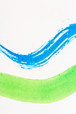 multilayer: Abstract hand painted blue and green art background. Fragment of artwork. Brushed watercolor paint. Modern contemporary art. Stock Photo
