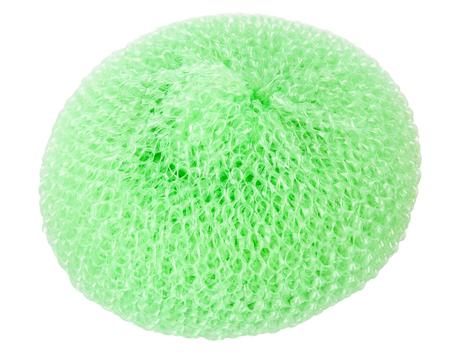 Green vibrant plastic scourer isolated on white background
