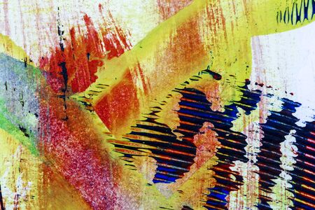 Closeup shot of abstract hand painted colorful acrylic art background on paper texture. Fragment of artwork