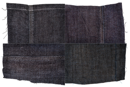 Collection of dark jeans fabric textures isolated on white background. Rough uneven edges. Rectangular composite image of jeans textures