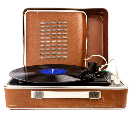 Open vintage suitcase turntable isolated on white background