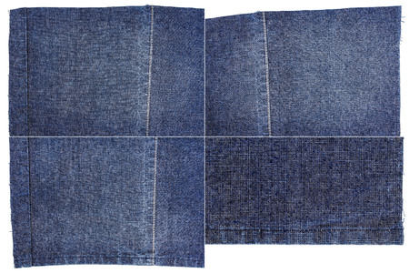 Collection of dark blue jeans fabric textures isolated on white background. Rough uneven edges. Rectangular composite image of jeans textures