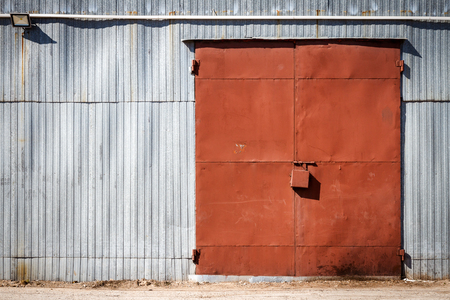 Good Old Metal Warehouse Door, Hangar Gate. Industrial Iron Door. Stock Photo    104962739
