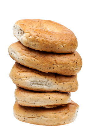 Tower made of fresh bagels isolated on a white background