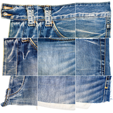 Collection of blue jeans fabric textures isolated on white background. Rough uneven edges. Composite image of jeans with pocket