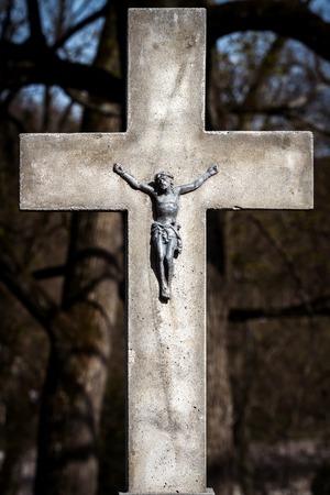 Big cross in the catholic cemetery of Rasos in Vilnius, Lithuania. Religious Christian symbol.