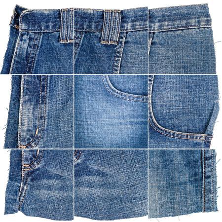 Sammlung von Blue Jeans-Stoffbeschaffenheiten isoliert auf weißem Hintergrund. Raue unebene Kanten. Zusammengesetztes Bild aus Denim-Material mit Tasche.