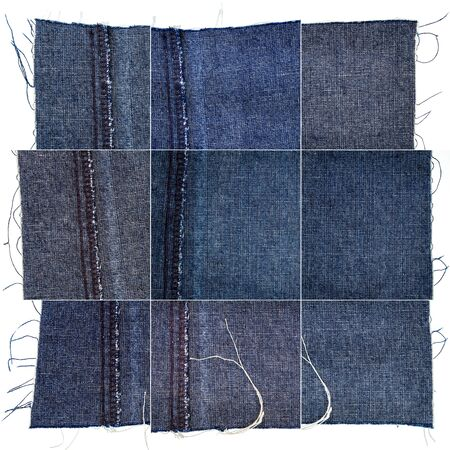 Collection of blue jeans textures isolated on white background. Rough uneven edges. Wrong side of the fabric.