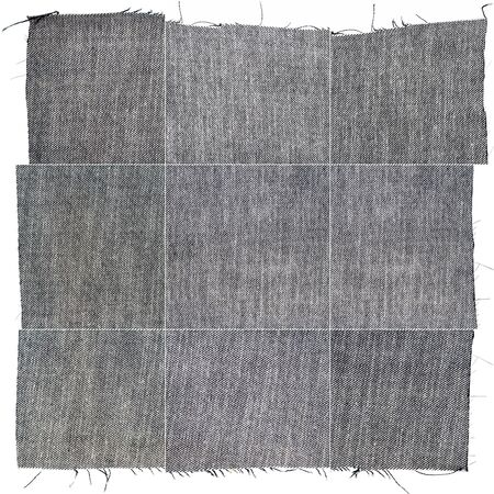 Collection of black jeans textures isolated on white background. Rough uneven edges. Wrong side of the fabric.