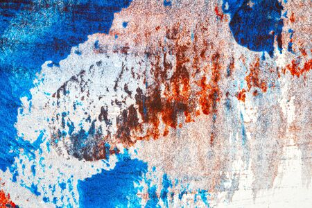 Abstract red and blue hand painted acrylic background, creative abstract hand painted colorful artwork, close up fragment of acrylic painting on paper