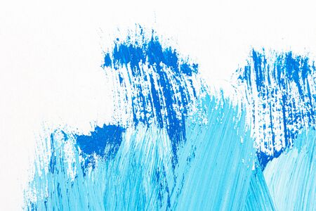 Abstract hand drawn blue acrylic paints background. Brushed texture close up. 写真素材 - 129489499