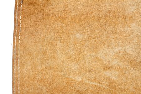 Piece of brown leather isolated on white background Standard-Bild