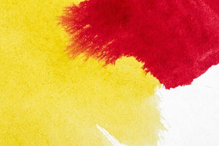 Abstract hand drawn yellow and red watercolor paints background Standard-Bild - 129489259