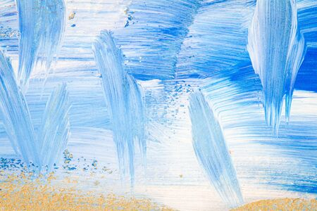 Blue and white abstract art painting on a brown cardboard. Creative abstract hand painted background. Dynamic brush strokes. Standard-Bild - 129489260