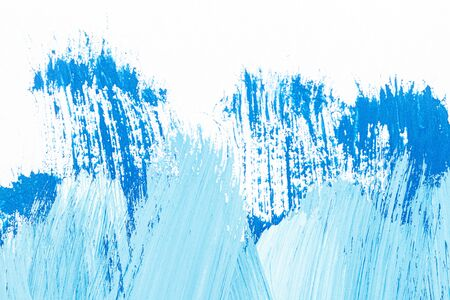 Abstract hand drawn blue acrylic paints background. Brushed texture close up. Standard-Bild - 129489296