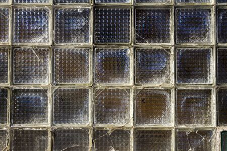 Old glass block wall texture, frosted glass brick wall background 스톡 콘텐츠