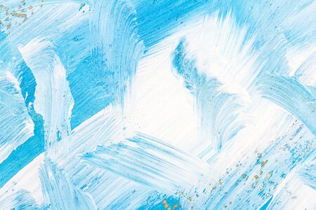 Blue and white abstract art painting on a brown cardboard. Creative abstract hand painted background. Dynamic brush strokes. Banco de Imagens - 132117795