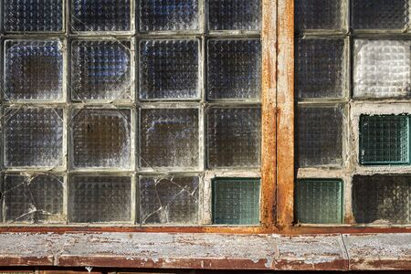 Old glass block wall texture, frosted glass brick wall background Stockfoto