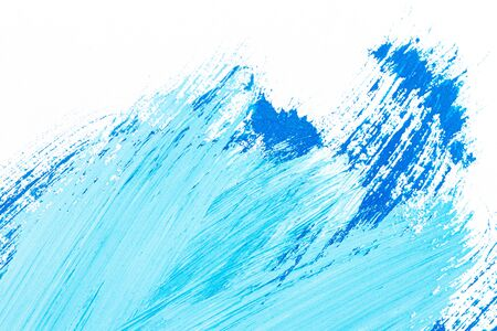 Abstract hand drawn blue acrylic paints background. Brushed texture close up.