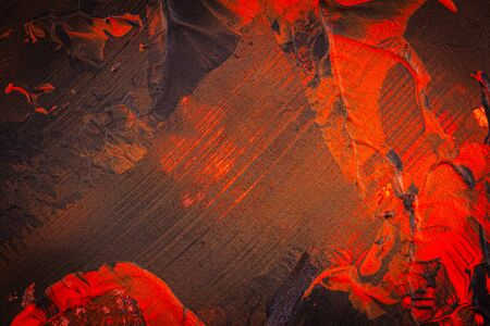 Brown and red hand painted acrylic background. Grunge acrylic texture with painted dots and brush strokes.