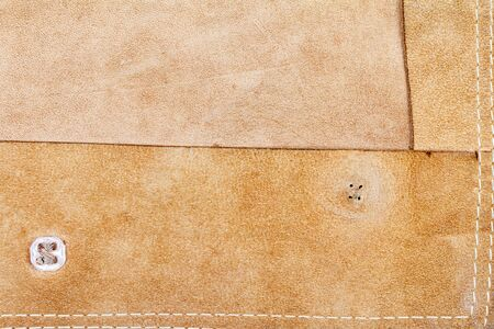 Genuine brown leather texture background. Abstract vintage natural animal skin backdrop. Back side of leather.