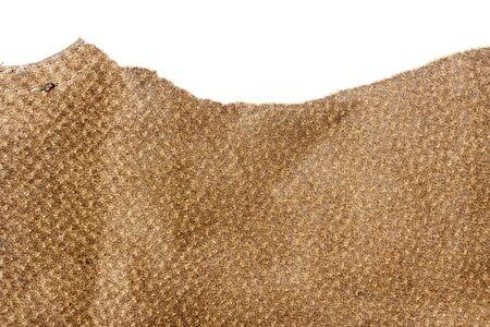 Stück braunes Leder isoliert auf weißem Hintergrund
